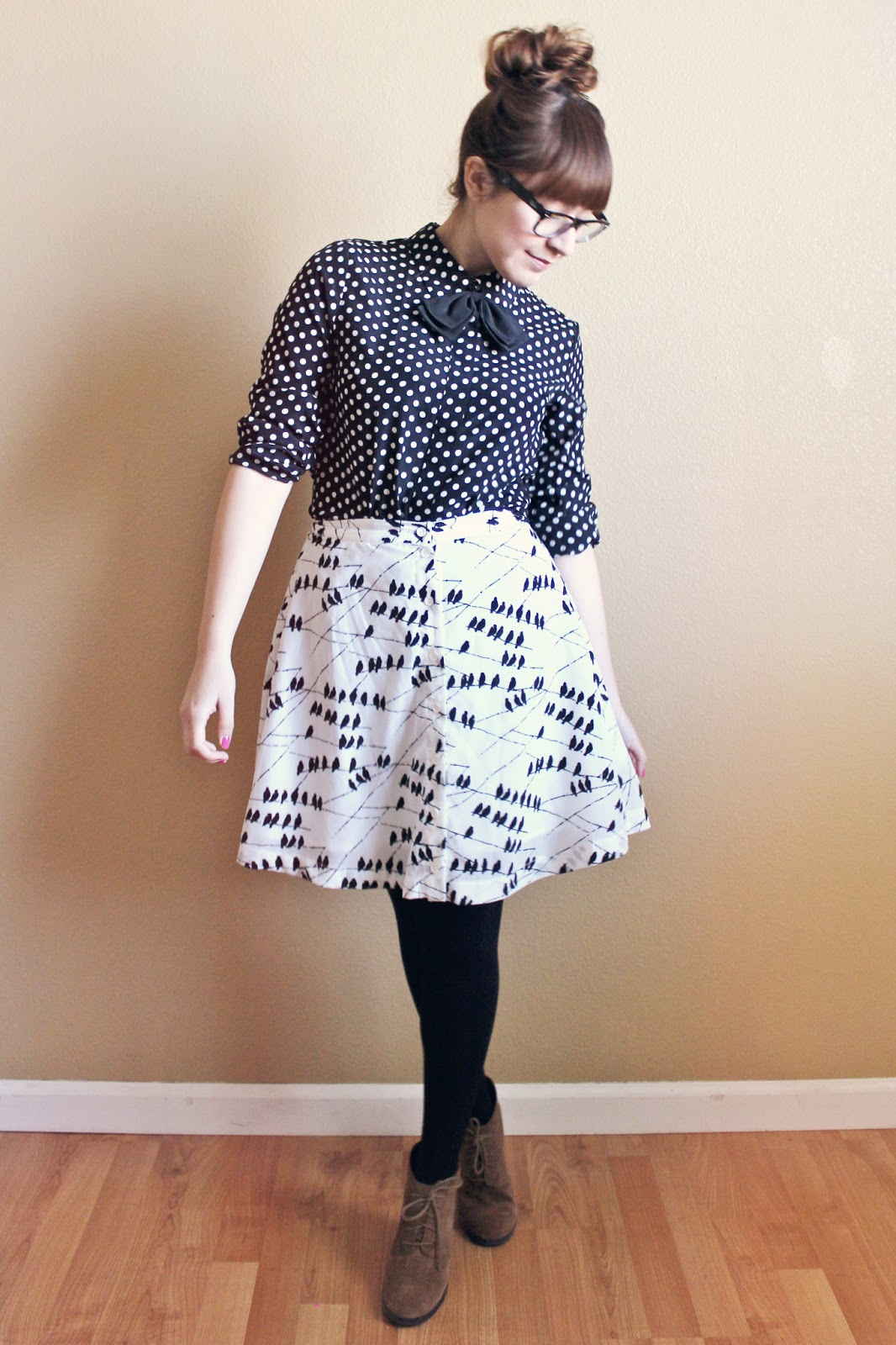 1388ed22a5 Outfit Details  Top- Popbasic    Bow tie- Urban Outfitters    Skirt-  Forever 21    Tights- Target    Boots- Franco Sarto